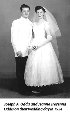 Joseph A. Oddis and Jeanne Trevenna Oddis on their wedding day in 1954