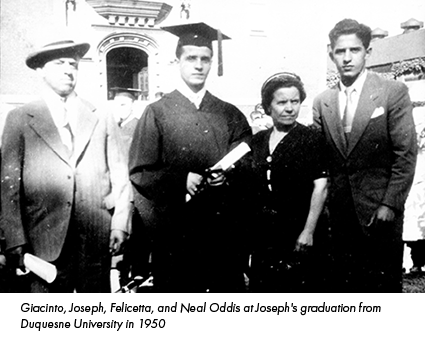 Giacinto, Joseph, Felicetta, and Neal Oddis at Joseph's graduation from Duquesne University in 1950