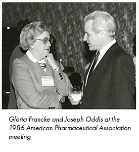 Gloria Francke and Joseph Oddis at the 1986 American Pharmaceutical Association meeting