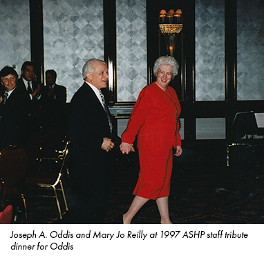 Joseph A. Oddis and Mary Jo Reilly at 1997 ASHP staff tribute dinner for Oddis