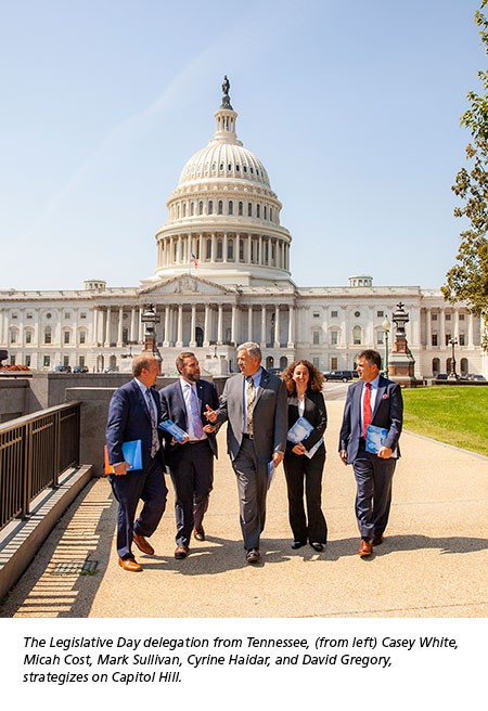 The Legislative Day delegation from Tennessee, (from left) Casey White,  Micah Cost, Mark Sullivan, Cyrine Haidar, and David Gregory,  strategizes on Capitol Hill.