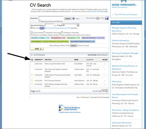 how to search the cv resume database ashp